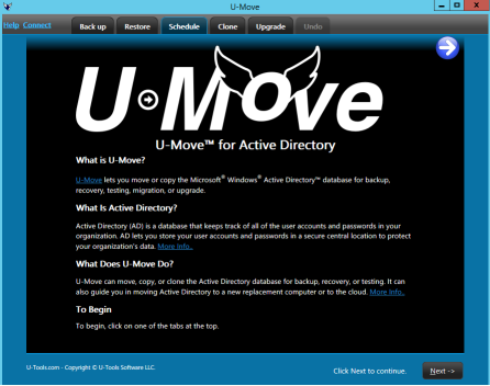 Click to see a larger screen shot of U-Move version 2