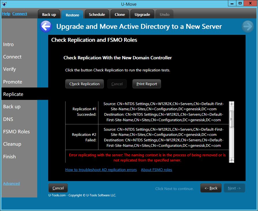 U-Move Upgrade Replication Report
