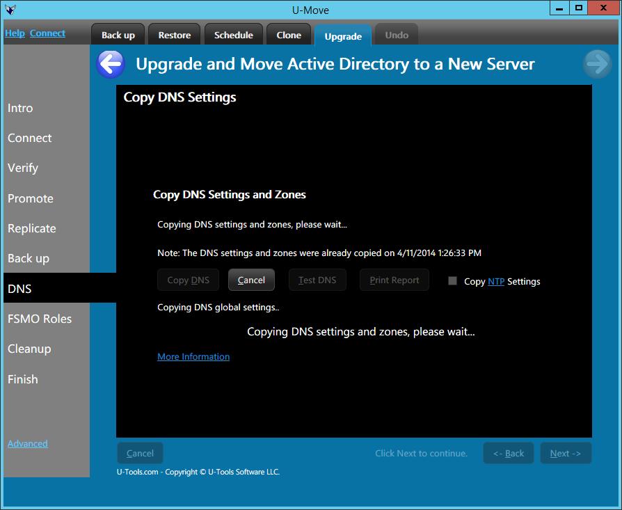 U-Move Upgrade Copy DNS Settings