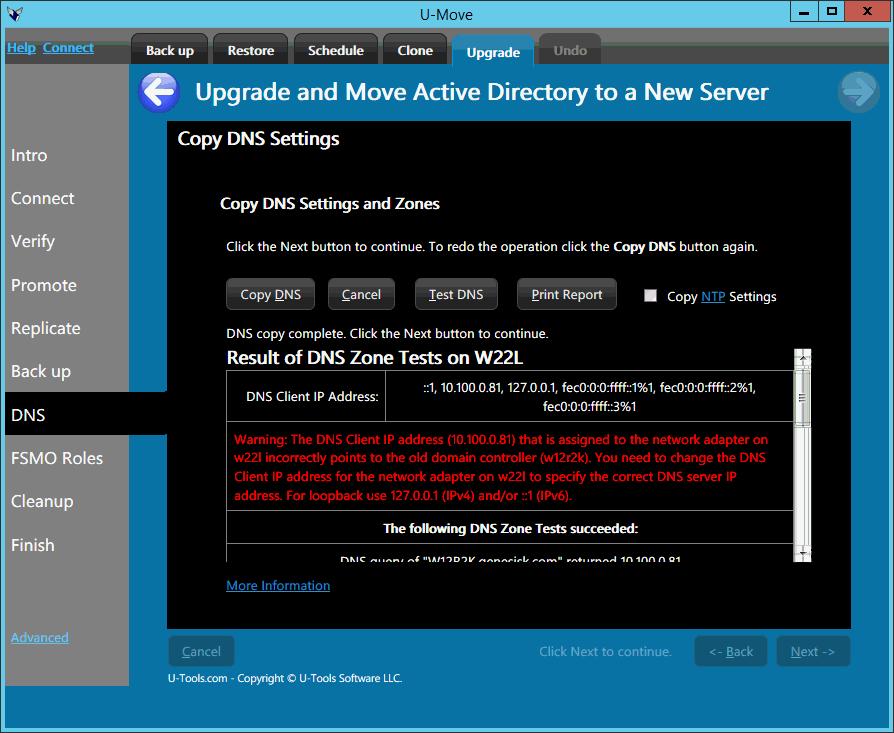 U-Move Upgrade DNS Report