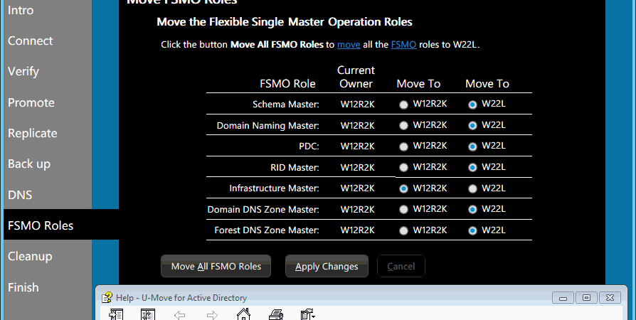 U-Move Upgrade Copy FSMO Roles
