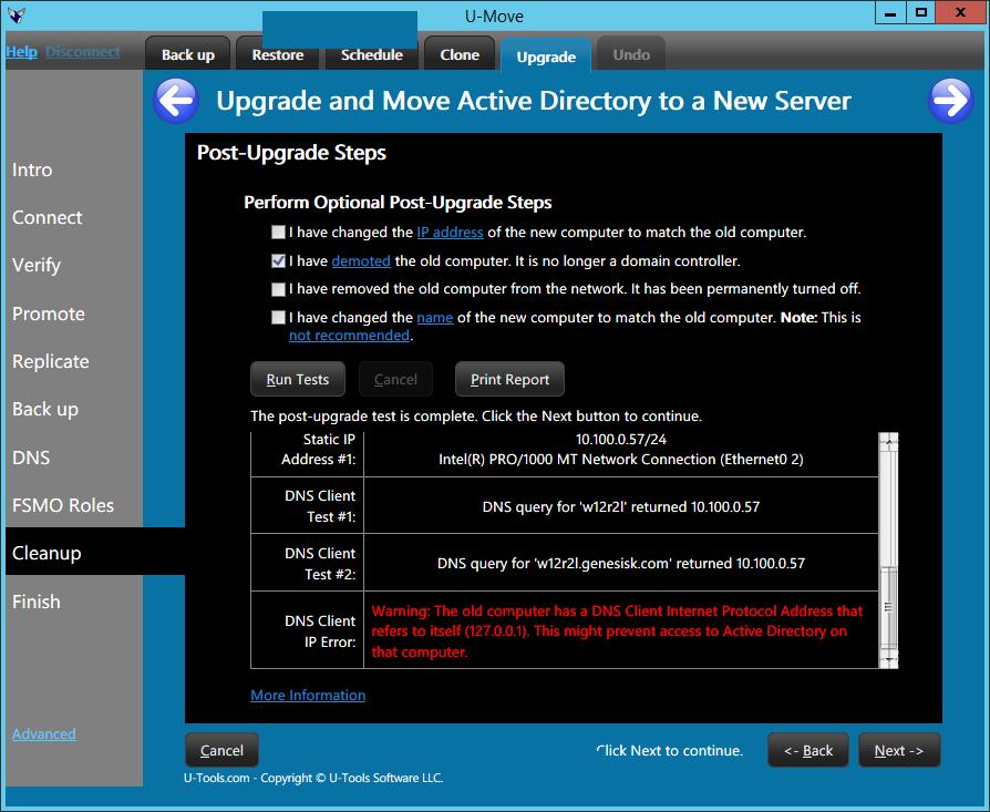 U-Move Post Upgrade Steps