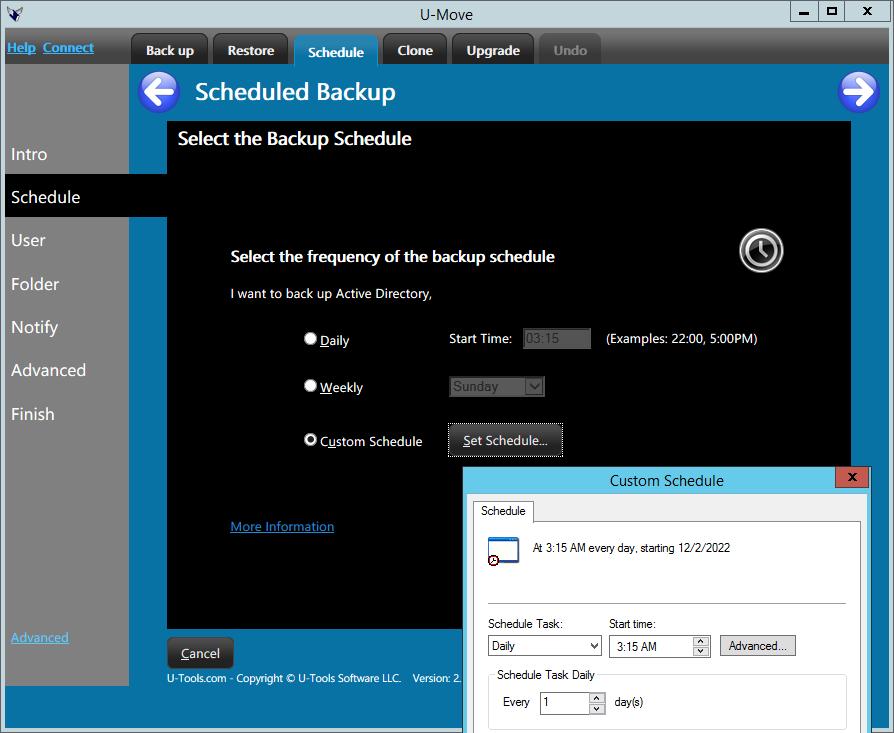 U-Move Schedule Backup Days