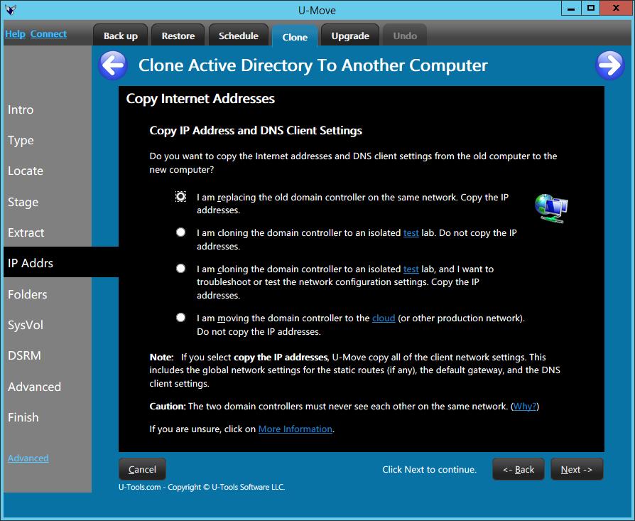 U-Move Copy IP Address