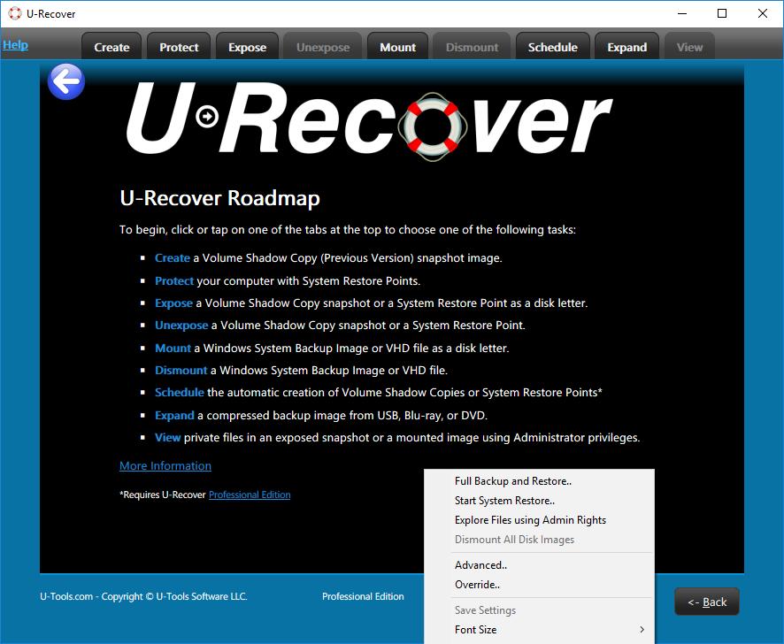 U-Recover Roadmap