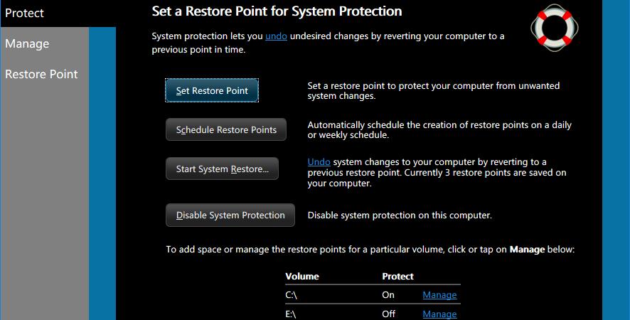 U-Recover System Protection